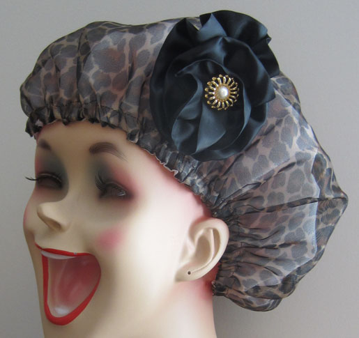 Shower Cap with Ribbon Rosette