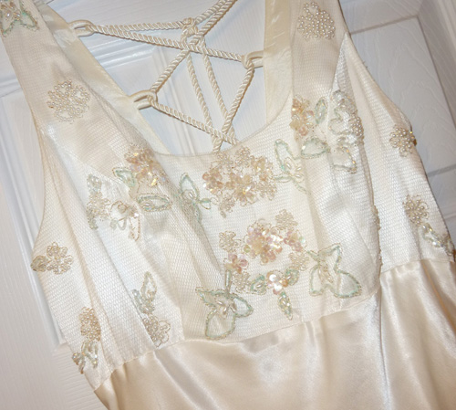 old white lace and satin dress