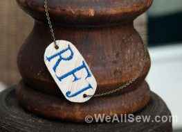 monogram wood necklace
