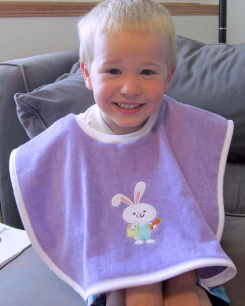 diy towel bib from pre-embellished towel