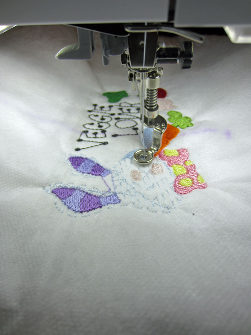 embroidery on white towel
