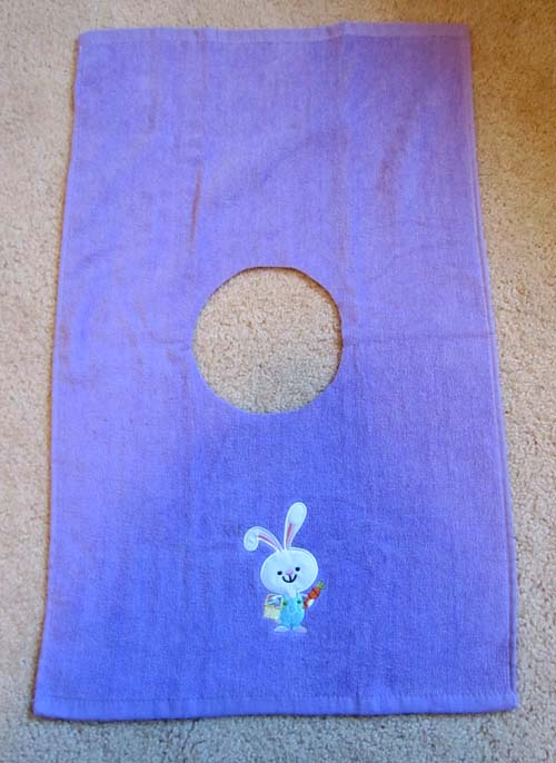 towel with circle cut-out