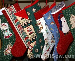 Christmas Boots made by Donna Krebill and her local quilt guild for women's shelter. #diy #sew #chartity #weallsew.com