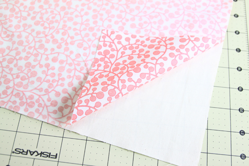 place fabrics right sides together