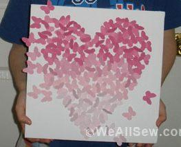 butterfly art #diy #craft #bernina #free project #butterflies #pink #heart #paper