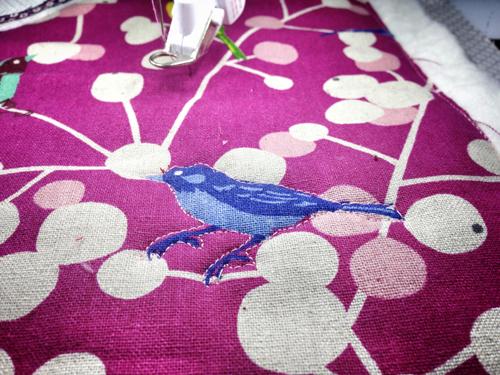 free-motion quilt bird