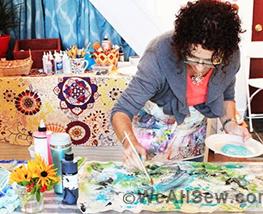 #alisa burke #retreat #workshop #sew wild #canvas remix #mixed media #cuff #wristlet #fabric #paint #weallsew