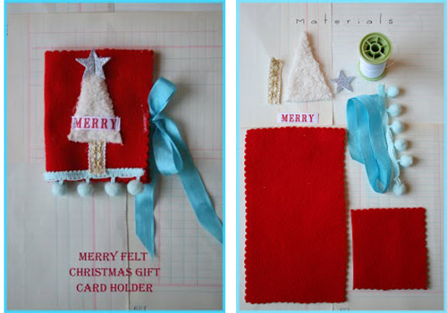 Merry Felt Christmas Gift Card Holder from Joli Paquet