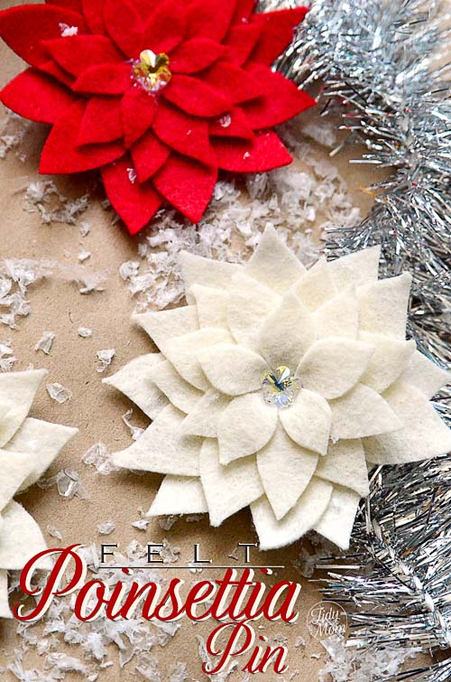 felt poinsettia pin how-to