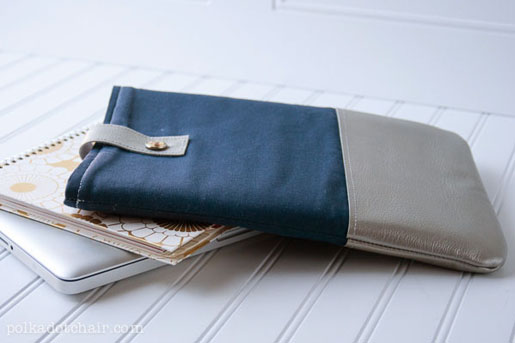 leather trimmed laptop sleeve