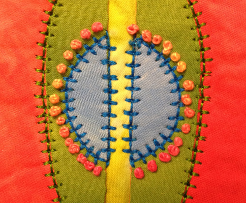 Combination of hand and machine stitching