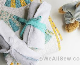 Wrap Burp Cloth with Bottle Pocket - WeAllSew