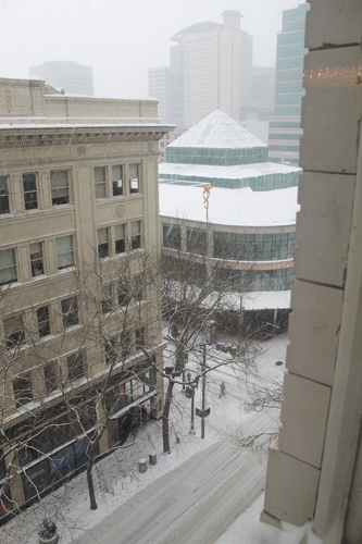 Downtown Portland in the Snow