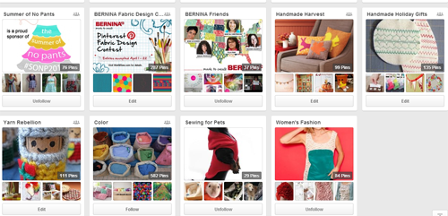 WeAllSew Pinterest boards