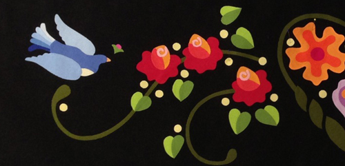 bright on black applique sample from Annie Smith