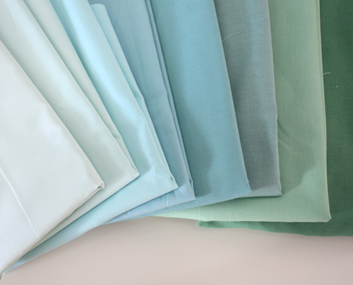 turquoise and blue fabrics