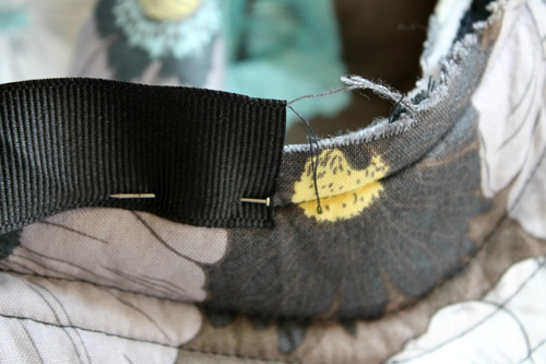 sew ribbon to seam allowance