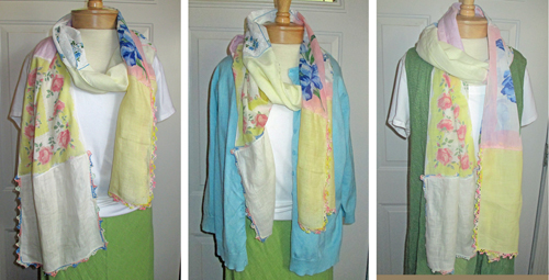 three options for wearing vintage hankie scarf