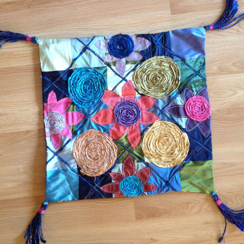 Spirals & Flowers Pillow - Linda Teufel
