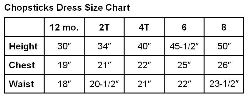 size chart - toddlers/girls