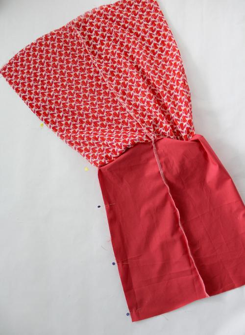 stitch lower center back seam