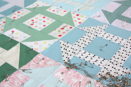 pin-basted quilt