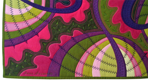 pink - green- purple quilt by Jane Sassaman - detail