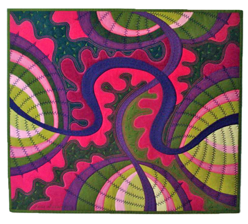 pink - green- purple quilt by Jane Sassaman