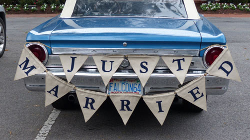 Just Married banner on Falcon