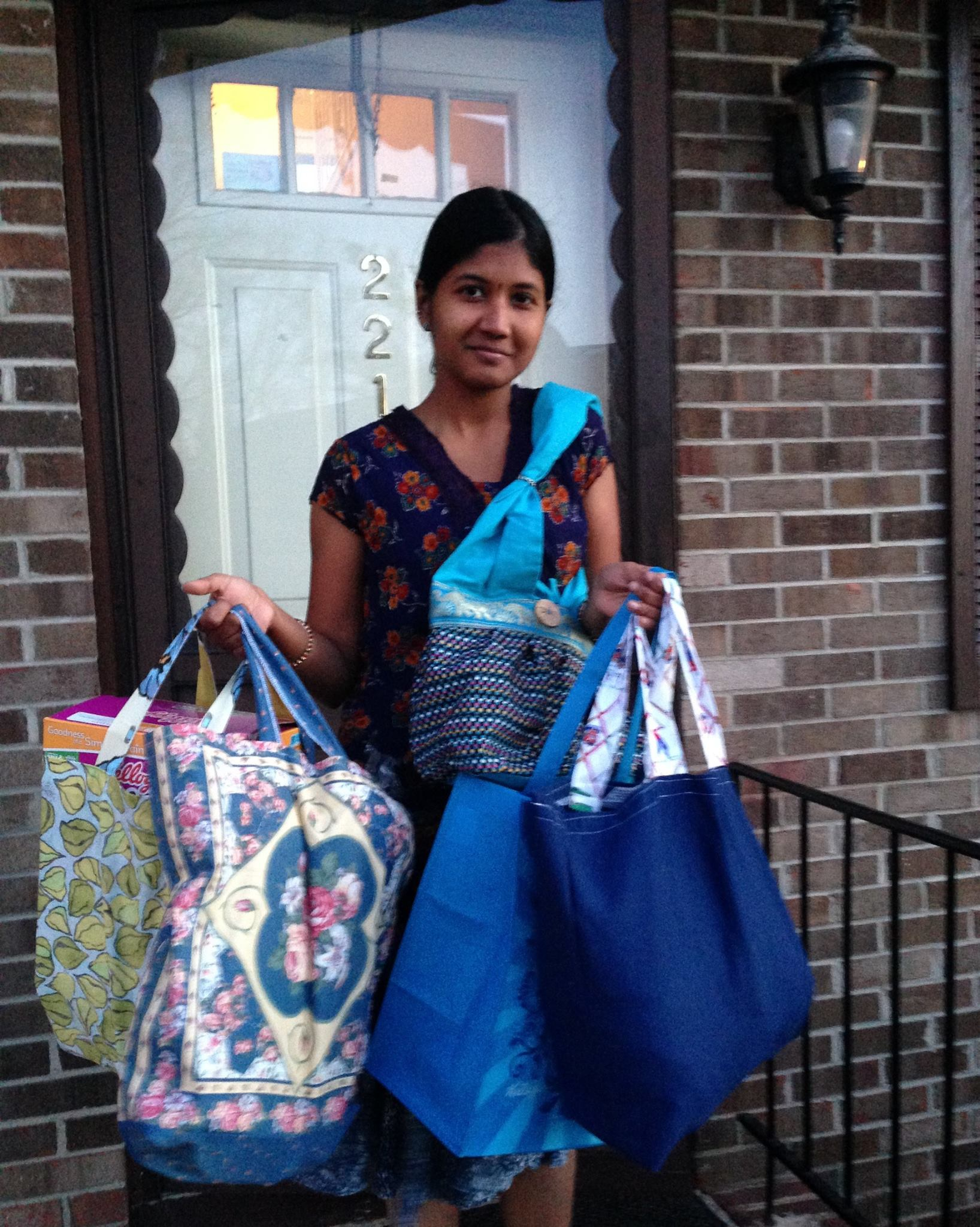 Green Bag Lady donated shopping bags