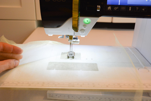tulle at sewing machine