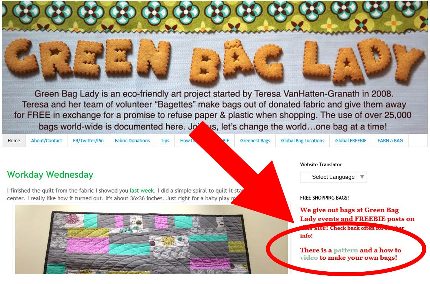 Free Green Bag Pattern