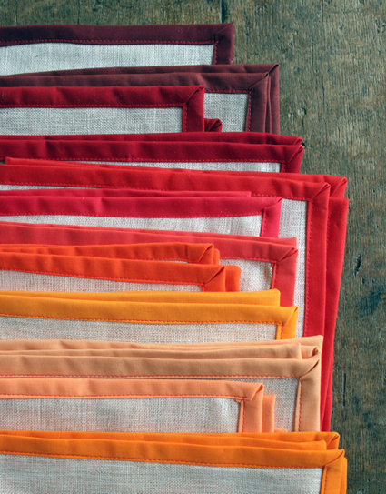 color-framed napkins