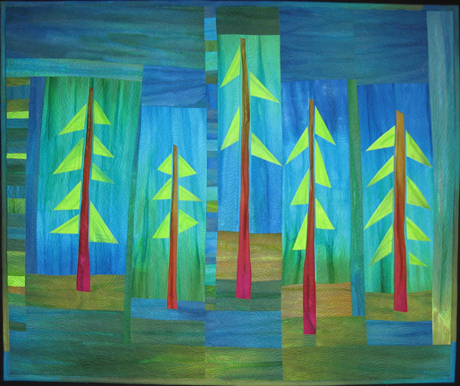quilt with pine trees