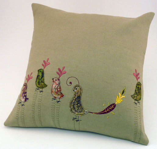 pillow with birds