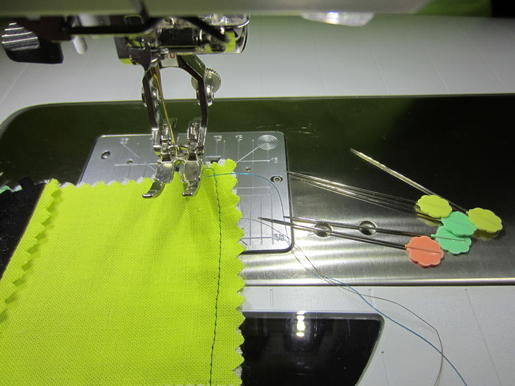 straight pins, sewing machine
