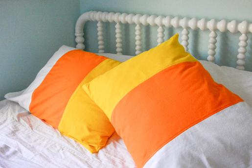 DIY Halloween Color-Blocked Candy Corn Pillowcase