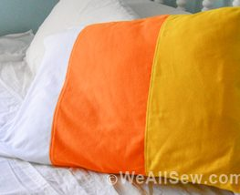 DIY Halloween Color-Blocked Candy Corn Pillowcase