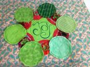 Second six yo-yo's pinned and ready for stitching