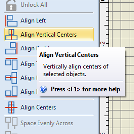 align vertical centers tool
