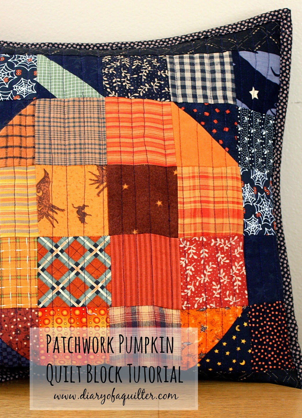 DIY pumpkin patchwork pillow
