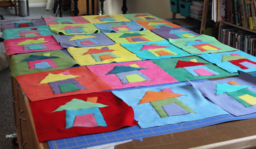 house squares on table