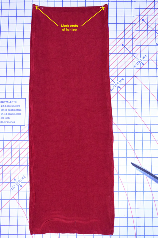 mark ends of center fold