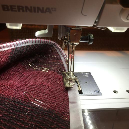 stitch clear elastic into seam