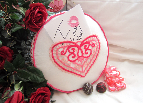How to make an embroidered Valentine's Pocket Pillow