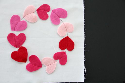 Sewing hearts in a circle