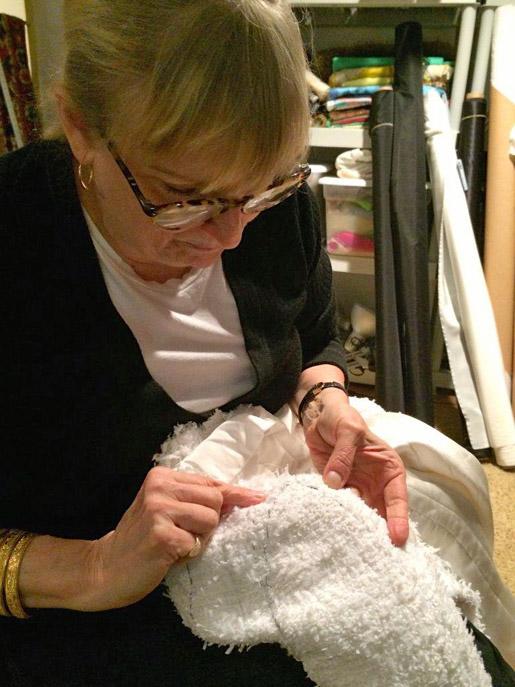 Susan Khalje sewing a three-part sleeve