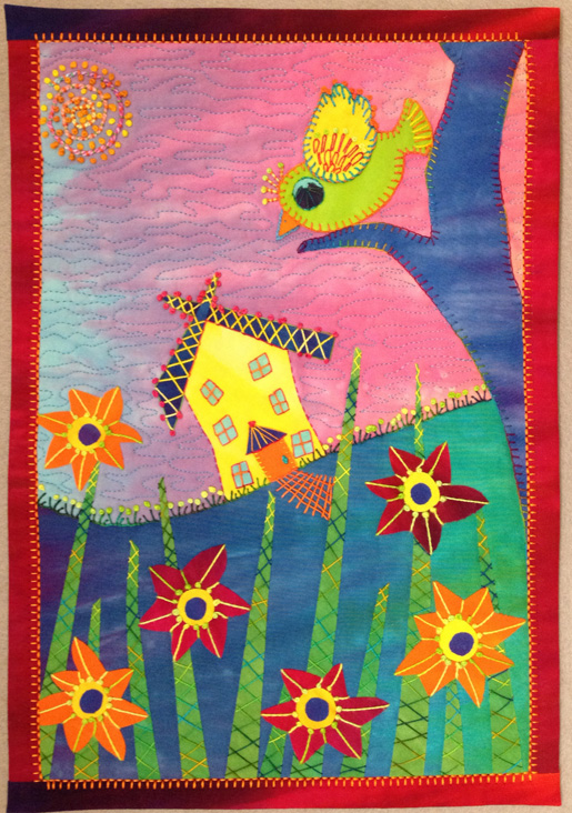 Fused Art quilt by Laura Wasilowski
