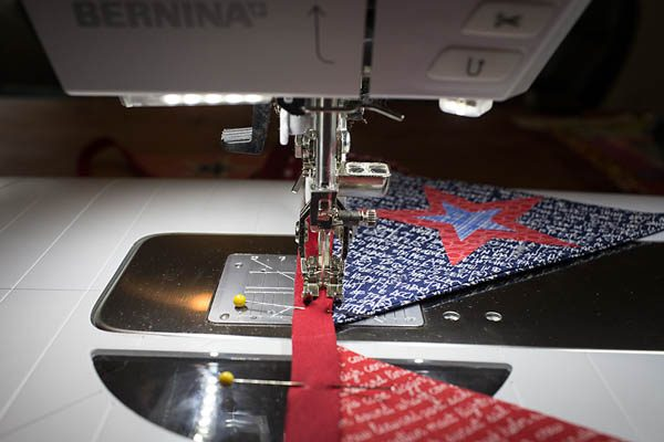 BERNINA 4th of July Bunting Tutorial pinning into place