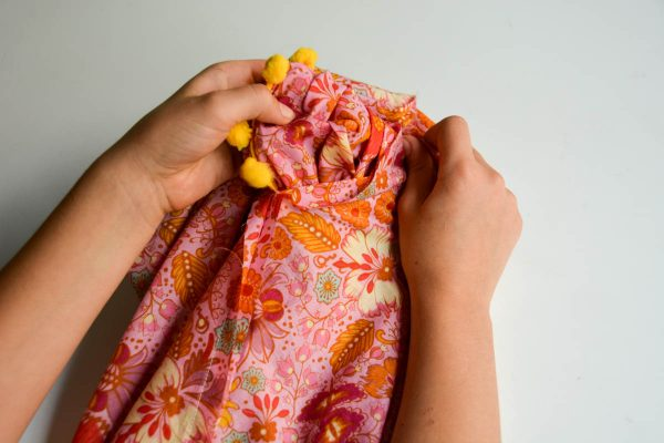 PomPom Scarf Sewing Tutorial-turning scarf inside out 2